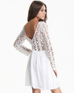 Shop White Long Sleeve Crochet Lace V Back Dress online. Sheinside offers White Long Sleeve Crochet Lace V Back Dress & more to fit your fashionable needs. Free Shipping Worldwide!