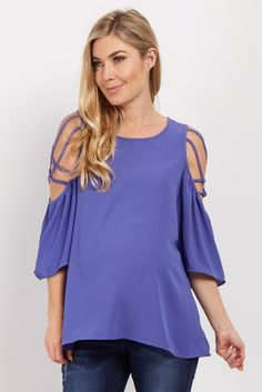 This blouse has a trendy cold shoulder with a unique crisscross detailing unlike any other. Style this number with maternity jeans and wedges for the perfect outfit.