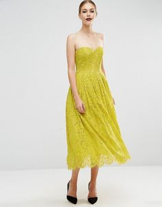 ASOS   ASOS Sweetheart Lace Bandeau Midi Dress in lime yellow