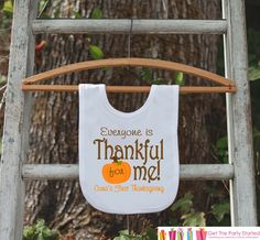This adorable Thanksgiving bib will be perfect to celebrate your baby's first Thanksgiving! It is just waiting to be worn by the little cutie in your life! Bib is made from 100% Polyester interlock kn