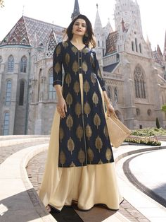 This Banarasi Jacquard And Satin Navy Blue And Cream Colour Kurti Is The Fun Attire Of The Moment. Get It On and Style It With Handbag and Earrings For The Perfect Day Look. Its Party Wear and Cute - . Pakistani Dresses, Indian Dresses, Kurti With Jacket, Prachi Desai, Drape Gowns, Kurti Collection, Western Dresses, Indian Designer Wear, Satin Fabric