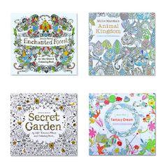 4 개 영어 판 비밀 정원 + 판타지 꿈 + 동물 왕국 색칠 어린이 성인 채색 책 각 책 24 페이지