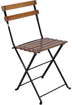 Mobel Designhaus French Caf Bistro Folding Side Chair Jet Black Frame European Chestnut Wood Slats with Walnut Stain Pack of 2 >>> You can get more details by clicking on the image.
