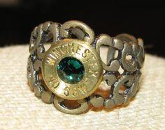 Winchester 40 caliber bullet casing filigree ring with emerald swarovski rhinestone