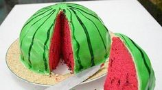 watermelon cakes and sweets in red and green colors