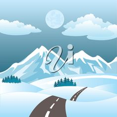 Vector illustration of the road amongst hills in winter