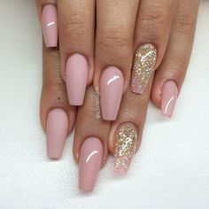 Nude Blush Pink + Matte Blush + Pink Glitter Ombre Long Coffin Nails #nail #nailart