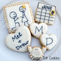 Sugar dot cookies engagment sugar cookies with royal icing glaze, Wedding cookie decorating ideas Cupcakes, Cupcake Cookies, Iced Cookies, Fun Cookies, Date Cookies, Order Cookies, Valentine Cookies, Engagement Cookies, Pumpkin Sugar Cookies
