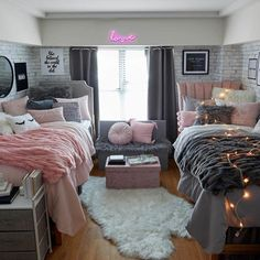 Modern Dorm Room Design Best design dorm room ideas usually a modern dorm room is equally as simple. Creative dorm room that decorates ideas on a budget kreativer schlafsaal . Cute Bedroom Ideas, Room Ideas Bedroom, Girls Bedroom, Master Bedroom, Master Suite, Bed Room, Twin Girl Bedrooms, Cute Dorm Ideas, Bedroom Red