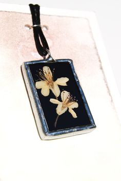 Real Flower Jewelry Stained Glass Necklace  by BayouGlassArts, $34.00