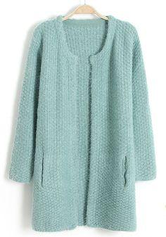 Green Plain Pockets No Button Wool Blend Cardigan
