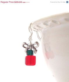 On Sale Christmas Present Earrings Red and by GirlBurkeStudios, $23.40