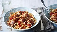 Meatballs with tomato sauce |      These moreish meatballs are super easy to make, top them with a simple tomato sauce and stir in some spaghetti for a quick midweek meal.