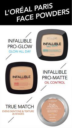 L'Oreal Paris face powders featuring new Infallible Pro-Glow plus classic favorites Infallible Pro-Matte and True Match powder.