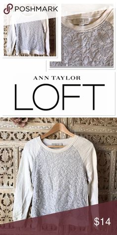 Ann Taylor Loft Lace top Ann Taylor Loft Lace top size SP. Raglan sleeve. Lace overlay in the front. Very tranny. Wear it with jeans or dress it up with a necklace and a skirt. ❤️ LOFT Tops Blouses