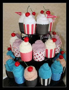Towel cup cake - so cute!!