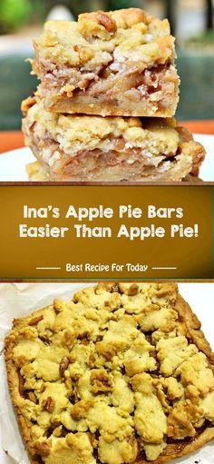 Ina's Apple Pie Bars – Easier Than Apple Pie! Apple Pie Recipes, Apple Desserts, Köstliche Desserts, Fall Recipes, Delicious Desserts, Dessert Recipes, Healthy Recipes, Simple Recipes, Plated Desserts