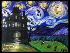 Haunted Van Gogh. Art Attack! Paint Party Fall Art Projects, School Art Projects, Halloween Painting, Halloween Crafts, Halloween Canvas, Autumn Painting, Autumn Art, Renoir, Vincent Van Gogh
