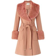 Miss Selfridge Faux Fur Cuff Coat, Rose Pink ($125) ❤ liked on Polyvore featuring outerwear, coats, long sleeve coat, miss selfridge coats, red coat, pink coat and miss selfridge