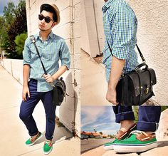 Sperry Boat Shoes, Gap Checkered Button Up, Zara Slim Fit Trousers