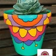 Projects to Try Andrea Postrak Painted Clay Pots, Painted Flower Pots, Hand Painted, Clay Pot Projects, Clay Pot Crafts, Ceramic Pots, Terracotta Pots, Pottery Painting, Ceramic Painting