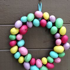Easter egg wreath at John and Annette's house in Winters