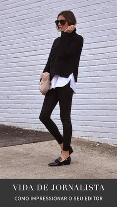 27 Chic Looks for the Turtleneck Fall Outfit Black Turtleneck and L. - 27 Chic Looks for the Turtleneck Fall Outfit Black Turtleneck and Leggings with White Underlay–Audrey Hepburn Style Source by autumnwallpaper - Tomboy Fashion, Look Fashion, Tomboy Style, Sneakers Fashion, Trendy Fashion, Classic Fashion, Fashion Black, Fashion Fall, Fashion Trainers