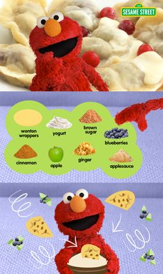 Elmo wants his friends to make breakfast with him! Parents, try baking these Apple Berry Breakfast Dumplings with your kids for free! They will sure love this yummy food dish: http://www.sesamestreet.org/parents/topicsandactivities/recipes/dumplings #recipe