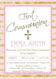 Pink and Gold Communion Invitation - Girl Communion Invite - Printable Pink and Gold First Communion Invitation - Gold and Pink Girl Invite by Ilona's Design on Etsy I @ilonaspassion