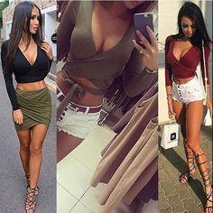 Fashion Women Casual Tank Crop Tops Vest Blouse Off Shoulder Long Sleeve T- Shirt Skirt 8a45ddbd3baf