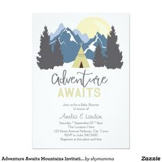 Adventure Awaits Mountains Invitation