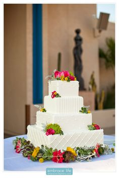 Four Tiered Square Wedding Cake w/ Simple Piping and Wild Flowers - Los Angeles Wedding Photos, LA Wedding Photographer