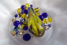 OOAK Deep Blue and Yellow Lampwork and Czech Glass by EgeriasWell, $73.00