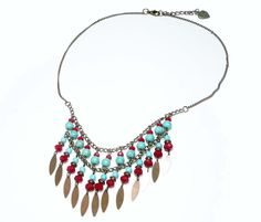 Collier ethnique perles turquoises et rouges multirangs pampille sequins : Collier par francoisecreations