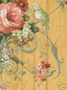 Could paint this? or.. French Country Bird Rose Floral Victorian Wallpaper D/R  http://stores.ebay.com