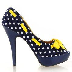 Navy And Yellow Heels | Tsaa Heel