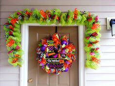 deco mesh halloween garland halloween decor halloween door decorations - Deco Mesh Halloween Garland