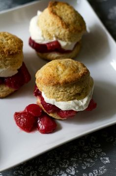 Strawberry and Rhurbarb Shortcakes with Orange Flower Whipped Cream by Aida Mollenkamp