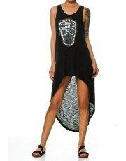 Terranovastyle.com - Abito donna in jersey tinta unita. Modello senza maniche, borchie applicate a forma di teschio, lunghezza sfalsata