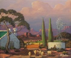Farm With Windmill - At Botha African Colors, City Scapes, Upcoming Artists, South African Artists, Windmills, Acrylic Paintings, Paint Ideas, Love Art, Art Drawings