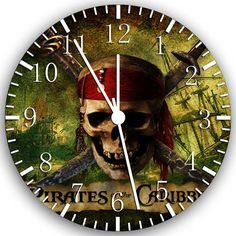 "Pirates of the Caribbean wall Clock 10"" Room Decor W149 on Etsy, $11.95"