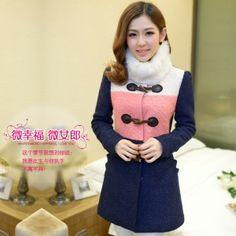 Korean Fashion Match Color Woolen Coat