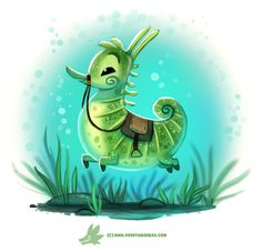 Daily Paint #1219. Seahorse by Cryptid-Creations     Time-lapse, high-res and WIP sketches of my art available on Patreon (:Twitter • Facebook • Instagram • DeviantART