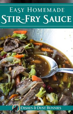 Easy Homemade Stir Fry Sauce - Dishes & Dust Bunnies Easy Homemade Stir Fry Sauce via Beef Stir Fry Sauce, Homemade Stir Fry Sauce, Garlic Chicken Stir Fry, Homemade Teriyaki Sauce, Chinese Stir Fry Sauce, Healthy Stir Fry, Quick Stir Fry, Veggie Stir Fry, Stir Fry Dishes