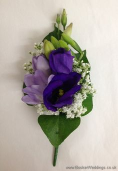 Purple and cream Pin Corsage with purple lissianthus, lilac freesia and gypsophila  Wedding Flowers Liverpool, Merseyside, Bridal Florist, Booker Flowers and Gifts, Booker Weddings