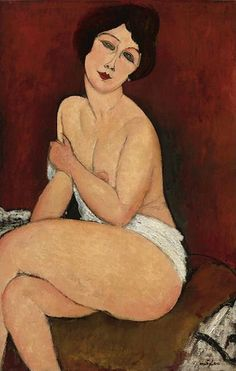 Modigliani, Amedeo (1884-1920) - 1917 Nude Sitting on a Couch (Sotheby's New York, 2010)  for more Amedeo Modigliani oil paintings please visit http://www.painting-in-oil.com/artworks-Modigliani-Amedeo.html