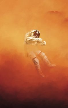 A digital painting recreation of The Martian book cover Astronaut Illustration, Illustration Art, Illustrations, The Martian Book, Arte Aries, Major Tom, Lost In Space, Outer Space, Aliens