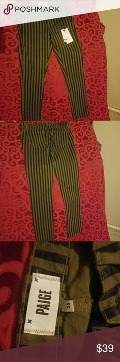 Page pin stripe pants Army green and black striped pants Paige Jeans Pants Trousers