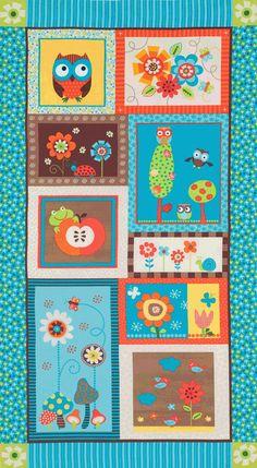 Alice Kennedy Bright Owl Owl Panel Multi by luckykaerufabric