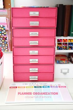 ABFOL Planner Organization 8 Want pink drawers & EC week at a glance